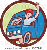 Vector Clip Art of Retro Cartoon Friendly White Male Delivery Truck Driver Waving in a Brown White and Green Circle by Patrimonio