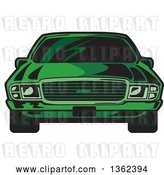 Vector Clip Art of Retro Cartoon Front View of a Green Sports Car by Clip Art Mascots