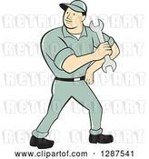 Vector Clip Art of Retro Cartoon Full Length Male Mechanic Holding a Wrench by Patrimonio