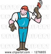 Vector Clip Art of Retro Cartoon Full Length Male Plumber Holding a Monkey Wrench by Patrimonio