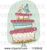 Vector Clip Art of Retro Cartoon Funky Wedding Cake with Kissing Bride and Groom Birds on Top by BNP Design Studio