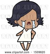 Vector Clip Art of Retro Cartoon Girl Crying by Lineartestpilot