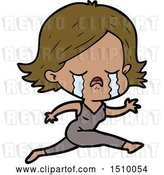 Vector Clip Art of Retro Cartoon Girl Crying Whilst Running by Lineartestpilot