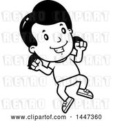 Vector Clip Art of Retro Cartoon Girl Jumping by Cory Thoman