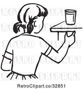 Vector Clip Art of Retro Cartoon Girl Reaching for a Cup by Picsburg