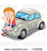 Vector Clip Art of Retro Cartoon Girl Waving and Sitting on a Beige Slug Bug Car by Graphics RF