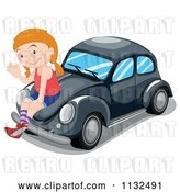 Vector Clip Art of Retro Cartoon Girl Waving and Sitting on a Black Slug Bug Car by Graphics RF