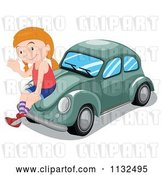 Vector Clip Art of Retro Cartoon Girl Waving and Sitting on a Green Slug Bug Car by Graphics RF