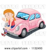 Vector Clip Art of Retro Cartoon Girl Waving and Sitting on a Pink Slug Bug Car by Graphics RF