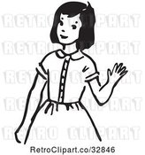 Vector Clip Art of Retro Cartoon Girl Waving by Picsburg