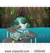 Vector Clip Art of Retro Cartoon Green Vw Bug Cat on a Curvy Road over Water by Graphics RF