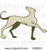 Vector Clip Art of Retro Cartoon Greyhound Dog Marching by Patrimonio