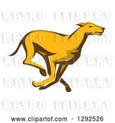 Vector Clip Art of Retro Cartoon Greyhound Dog Running by Patrimonio