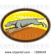 Vector Clip Art of Retro Cartoon Greyhound Dog Running in a Sunny Gray Brown and Yellow Oval by Patrimonio