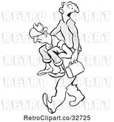 Vector Clip Art of Retro Cartoon Guy Carrying a Friend to Work by Picsburg
