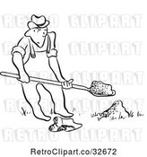 Vector Clip Art of Retro Cartoon Guy Digging by Picsburg