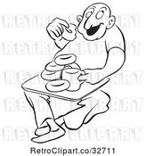 Vector Clip Art of Retro Cartoon Guy Eating Coffee and Donuts by Picsburg