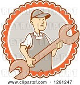 Vector Clip Art of Retro Cartoon Guy Holding a Spanner Wrench in a White Gray and Orange Circle by Patrimonio