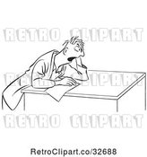 Vector Clip Art of Retro Cartoon Guy Taking a Stressful Test by Picsburg