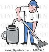 Vector Clip Art of Retro Cartoon Guy Using a Canister Vacuum by Patrimonio