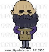Vector Clip Art of Retro Cartoon Guy with Beard Frowning by Lineartestpilot