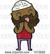 Vector Clip Art of Retro Cartoon Guy with Beard Sticking out Tongue by Lineartestpilot