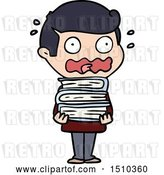 Vector Clip Art of Retro Cartoon Guy with Books Totally Stressed out by Lineartestpilot
