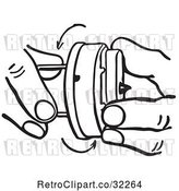 Vector Clip Art of Retro Cartoon Hands Winding a Novelty Hand Buzzer Prank Toy by Picsburg
