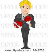 Vector Clip Art of Retro Cartoon Handsome Valentine Guy Holding a Chocolate Box and Bouquet by BNP Design Studio