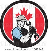 Vector Clip Art of Retro Cartoon Handy Guy or Mechanic Flexing and Holding a Spanner Wrench in a Canadian Flag Circle by Patrimonio