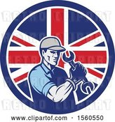 Vector Clip Art of Retro Cartoon Handy Guy or Mechanic Flexing and Holding a Spanner Wrench in a Union Jack Flag Circle by Patrimonio