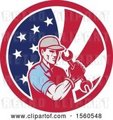 August 14th, 2018: Vector Clip Art of Retro Cartoon Handy Guy or Mechanic Flexing and Holding a Spanner Wrench in an American Flag Circle by Patrimonio