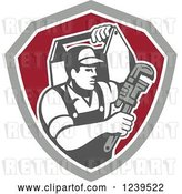 Vector Clip Art of Retro Cartoon Handy Guy with a Wrench and Tool Box in a Shield by Patrimonio