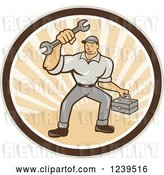 Vector Clip Art of Retro Cartoon Handy Guy with a Wrench and Tool Box in a Sunny Circle by Patrimonio