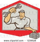 Vector Clip Art of Retro Cartoon Handy Guy with a Wrench and Tool Box in Shield by Patrimonio