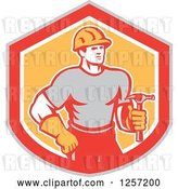 Vector Clip Art of Retro Cartoon Handyman or Carpenter with a Hammer in a Gray Red White and Orange Shield by Patrimonio