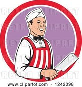 Vector Clip Art of Retro Cartoon Happy Butcher with a Knife in a Circle by Patrimonio