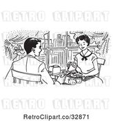 Vector Clip Art of Retro Cartoon Happy Couple Dining in a City Restaurant by Picsburg