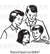 Vector Clip Art of Retro Cartoon Happy Family by Picsburg