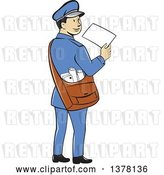 Vector Clip Art of Retro Cartoon Happy Mail Guy Holding an Envelope and Looking Back over His Shoulder by Patrimonio