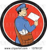 Vector Clip Art of Retro Cartoon Happy Mail Guy Holding an Envelope and Looking Back over His Shoulder in a Black White and Red Circle by Patrimonio