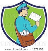 Vector Clip Art of Retro Cartoon Happy Mail Guy Holding an Envelope and Looking Back over His Shoulder in a Blue White and Green Shield by Patrimonio