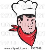 Vector Clip Art of Retro Cartoon Happy Male Chef or Baker Face by Patrimonio