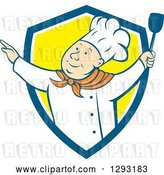 Vector Clip Art of Retro Cartoon Happy White Male Chef Dancing with a Spatula in a Blue White and Yellow Shield by Patrimonio