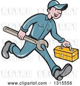Vector Clip Art of Retro Cartoon Happy White Male Mechanic Runnign with a Spanner Wrench and a Tool Box by Patrimonio