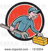 Vector Clip Art of Retro Cartoon Happy White Male Mechanic Runnign with a Spanner Wrench and a Tool Box, Emerging from a Black White and Red Circle by Patrimonio