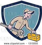 Vector Clip Art of Retro Cartoon Happy White Male Mechanic Runnign with a Spanner Wrench and a Tool Box, Emerging from a Blue and White Shield by Patrimonio