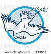 Vector Clip Art of Retro Cartoon Heron Diving over a Blue Sunny Circle by Patrimonio