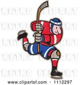 Vector Clip Art of Retro Cartoon Hockey Player Skating and Holding up a Stick by Patrimonio