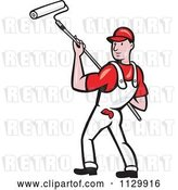 Vector Clip Art of Retro Cartoon House Painter Worker Using a Roller by Patrimonio